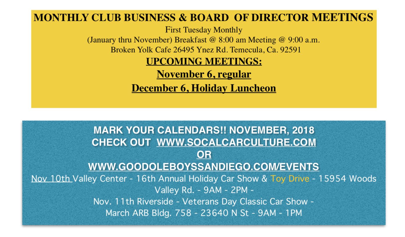 Events Nov 2018