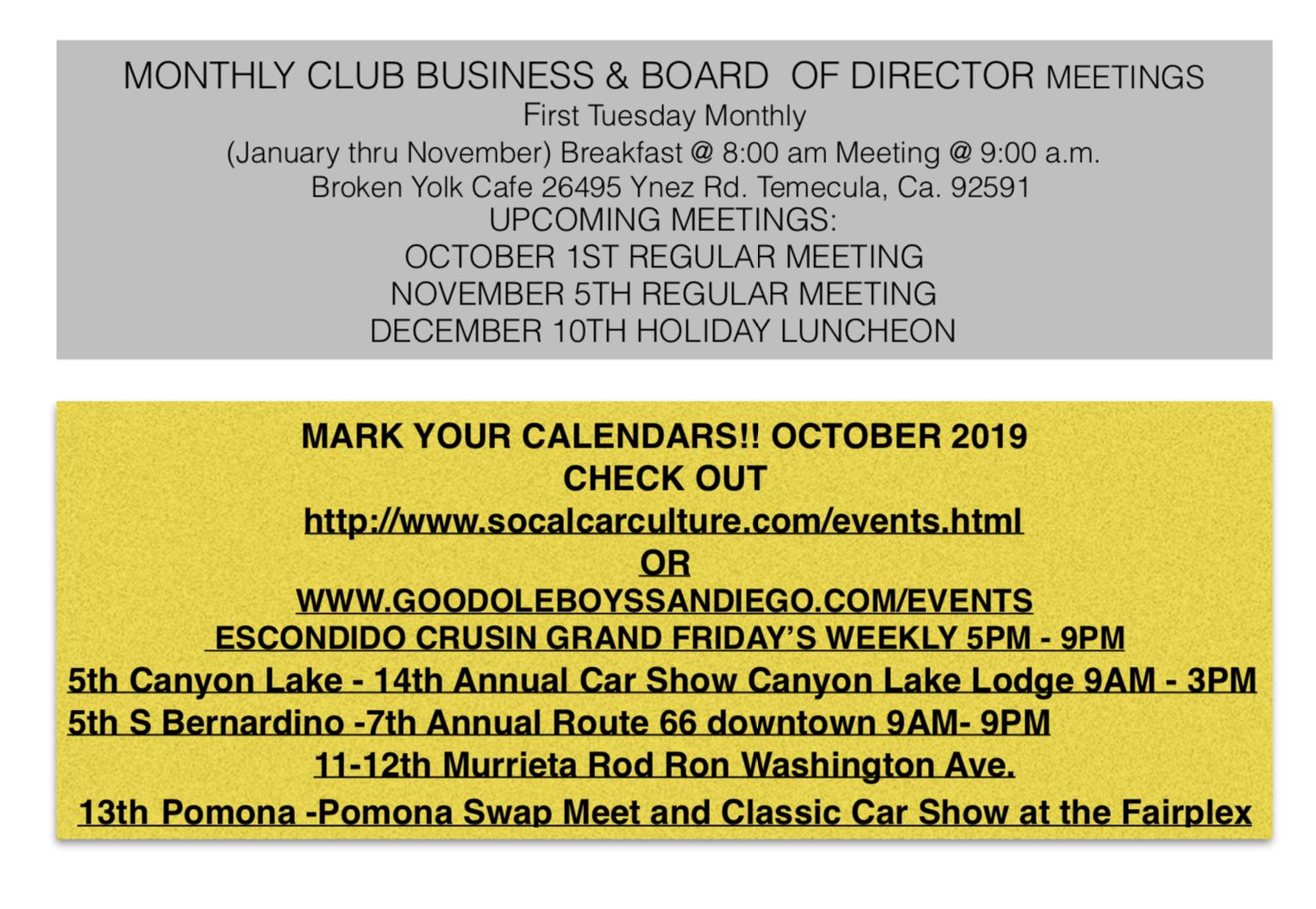 October 2019 Events